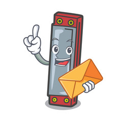 With envelope harmonica character cartoon style vector