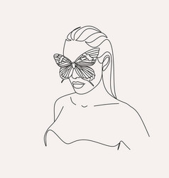 Woman face with butterfly line art female hands w vector