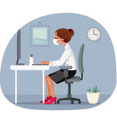 woman working in office wearing medical mask vector image