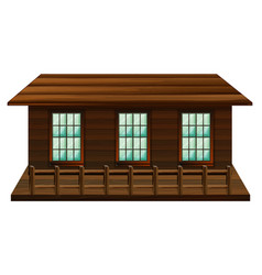 wooden cabin with three windows vector image
