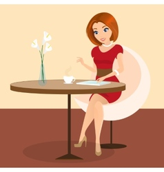 Young pretty woman sitting alone in cafe and vector