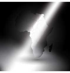 Africa map in the rays of light background vector image