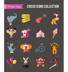 Circus entertainment icons set for infographics vector image