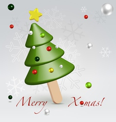 Green Christmas ice cream postcard vector image