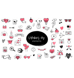 love doodles hand drawn and quotes vector image