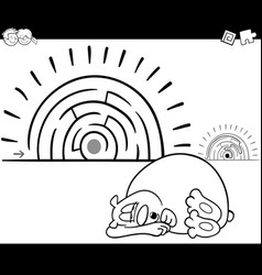 maze activity game with sleeping bear vector image