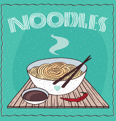 asian noodles ramen or udon in bowl vector image