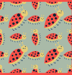 cute ladybug cartoon red insect nature bug vector image vector image