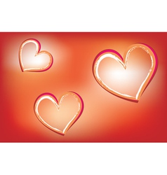 Hearts on luminous background vector image vector image