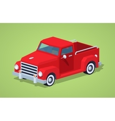Low poly red retro pickup vector image vector image