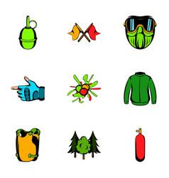 activity icons set cartoon style vector image