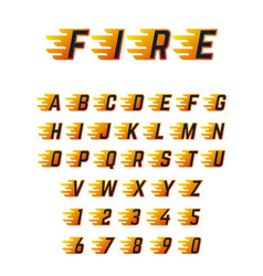 burning running letters with flame hot fire vector image vector image
