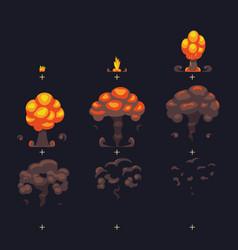 cartoon atomic bomb explosion ground explosion vector image