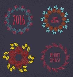 Christmas wreath drawn set vector image vector image