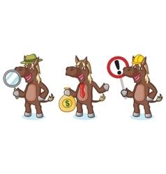 Dark Brown Horse Mascot with money vector image vector image