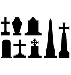 set of different tombstones vector image