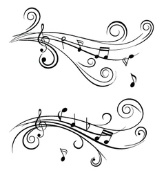 sound wave sheet music notes vector image vector image
