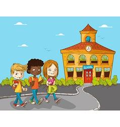 Education back to school cartoon kids vector image