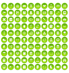 100 book icons set green circle vector