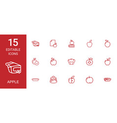 15 apple icons vector image
