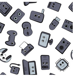a set of cartoon icons on the computer vector image