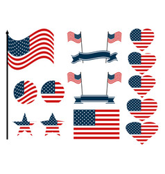 American flag set collection of symbols vector