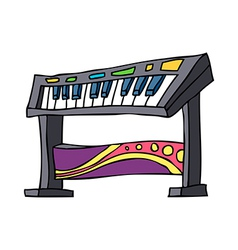 An electronic piano is placed vector