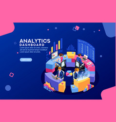 analytics dashboard financial banner vector image