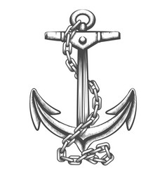anchor and chains tattoo in engraving style vector image