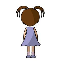 Back cute little girl character vector
