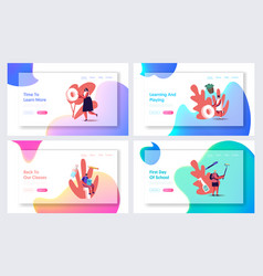 Back to school concept landing page template set vector