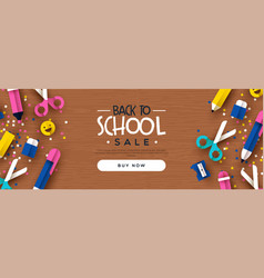 Back to school sale banner papercut class icons vector