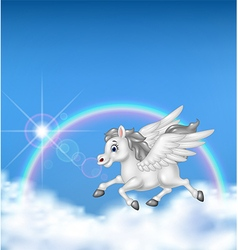 Beautiful pegasus flying on rainbow background vector image
