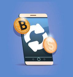 Bitcoin exchange icon on cell smart phone digital vector