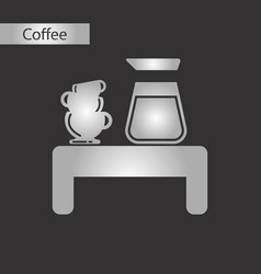 black and white style icon coffee cup coffee table vector image
