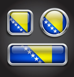 Bosnia Hercegovina flag glass buttons vector image