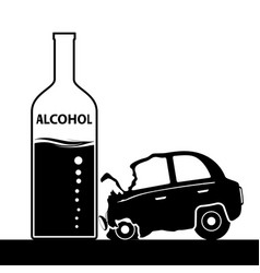 Bottle with alcohol a car accident drunkenness vector