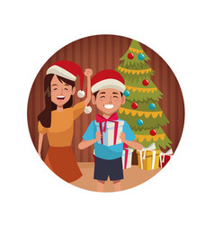 Brothers in christmas cartoon vector