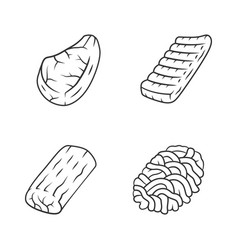 Butchers meat linear icons set ground meat pork vector