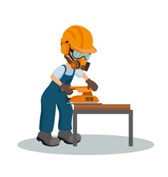 carpenter sanding a wooden plank vector image