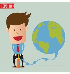 Cartoon Business man pumping earth balloon vector image