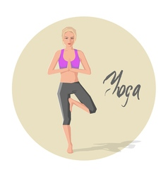 Caucasian woman practicing yoga vector image