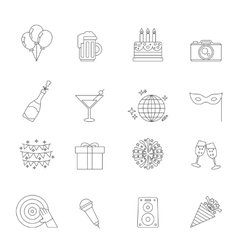 Celebration linear icons vector image