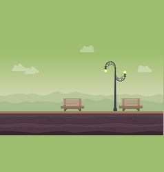 Chair and street lamp landscape background vector