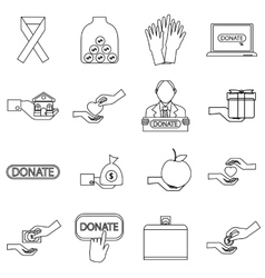 Charity icons set outline style vector image