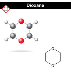 Chemical structure and model of dioxane vector