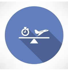 clock and airplane on the scales icon vector image