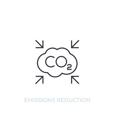 Co2 carbon emissions reduction line icon vector