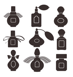 collection of silhouettes of bottles for perfume vector image