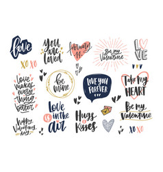 collection of stylish valentine s day letterings vector image
